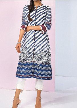 De La Rose by Al Karam Printed Lawn Unstitched Kurties AK20DR GF-14F-20-BLUE - Summer Collection