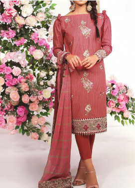 De La Rose by Al Karam Embroidered Yarn Unstitched 3 Piece Suit AK20DR GF-15F-20-RED - Summer Collection