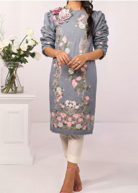 De La Rose by Al Karam Embroidered Yarn Unstitched Kurties AK20DR GF-16F-20-NAVY BLUE - Summer Collection