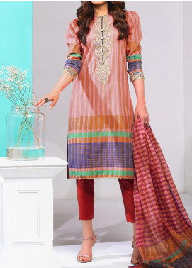De La Rose by Al Karam Embroidered Jacquard Unstitched 3 Piece Suit AK20DR GF-18F-20-PINK - Summer Collection