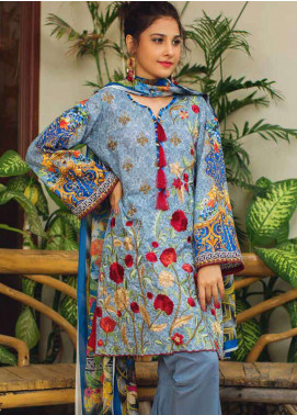 Deeba Embroidered Lawn Unstitched 3 Piece Suit DB19L 08 - Spring / Summer Collection