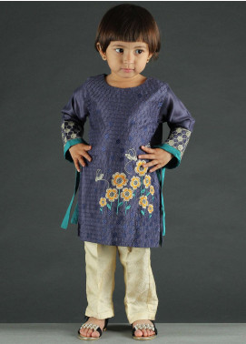 Dhanak Cotton Net Embroidered Suits for Girls - DK-0040 Blue