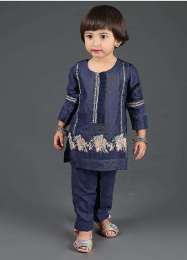 Dhanak Cotton Net Embroidered Girls 2 Piece Suits - DK-0052 Navy Blue