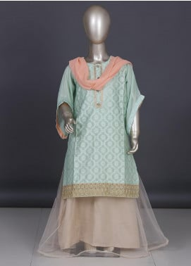 Dhanak Organza Embroidered 3 Piece Suits for Girls -  DK-0068 Light Green