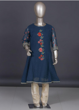 Dhanak Chiffon Embroidered Girls 2 Piece Suits -  DK-0070 Blue