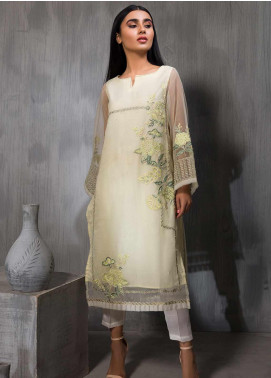 Dhanak Embroidered Tissue Stitched Kurties DA-1129 YELLOW