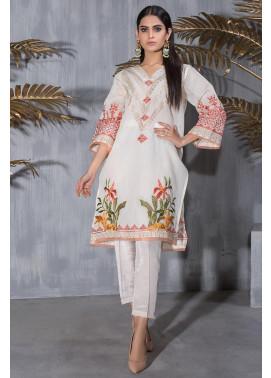 Dhanak Embroidered Khaadi Net Stitched Kurti DA-1219 Off White