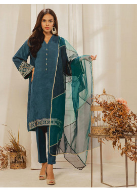 Dhanak Embroidered Raw Silk Stitched 2 Piece DA-1248 Blue