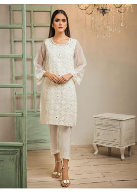 Dhanak Embroidered Organza Stitched Kurti DA-1267 Off-White