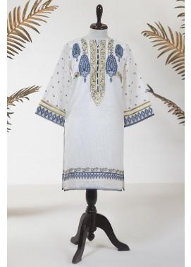 Dhanak Embroidered Jacquard Stitched Kurti DA-1269 Off White