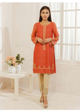 Dhanak Embroidered Khaadi Net Stitched Kurti DA-1270 Rust