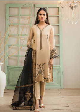 Dhanak Embroidered Organza  Stitched 2 Piece Suit DA-1279 Indian Gold