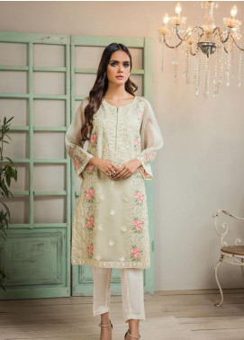 Dhanak Embroidered Organza Stitched Kurti DA-1292 Light Green