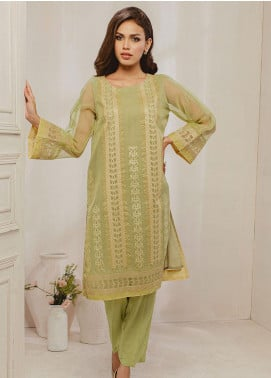 Dhanak Embroidered Organza Stitched Kurti DA-1295 Green