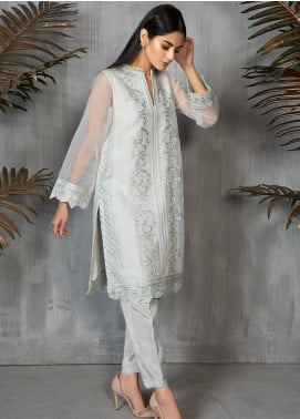 Dhanak Formal Organza Stitched Kurti DA-1296 LIGHT GREY