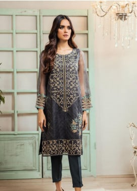 Dhanak Embroidered Organza Stitched Kurti DA-1305 Dark Grey