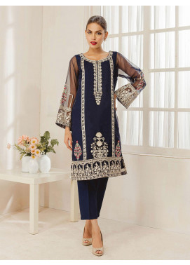 Dhanak Embroidered Organza Stitched Kurti DA-1318 Blue