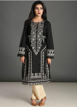 Dhanak Embroidered Cotton Stitched Kurtis Black DC-0167