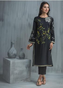 Dhanak Printed Lawn Stitched Kurtis  DC-0157 Black