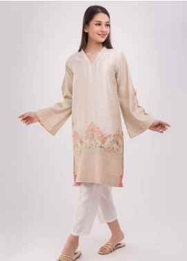 Dhanak Embroidered Cotton Net Stitched Kurtis Beige DA-0627