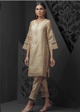 Dhanak Embroidered Jacquard Stitched Kurtis Beige DA-1010
