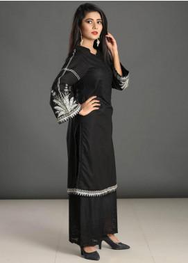 Dhanak Embroidered Cotton  Stitched Kurtis Black DC-0165