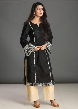 Dhanak Embroidered Cotton  Stitched Kurtis Black DC-0170