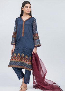 Dhanak Embroidered Raw Silk Stitched 2 Piece Suit Blue DA-1063