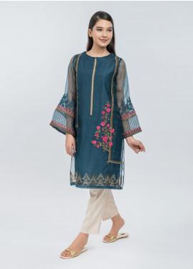 Dhanak Embroidered Cotton Net Stitched Kurtis Blue DA-1076