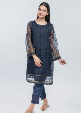 Dhanak Embroidered Organza Stitched Kurtis Blue DA-1083