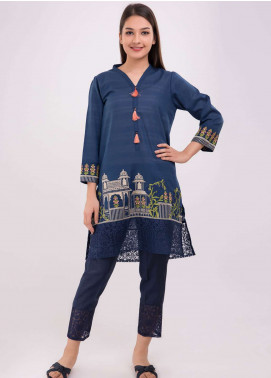 Dhanak Embroidered Jacquard Stitched Kurtis Blue DC-0107