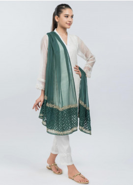 Dhanak Embroidered Chiffon Stitched Dupatta Bottle Green DD-0748