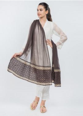 Dhanak Embroidered Chiffon Stitched Dupatta Brown DD-0748