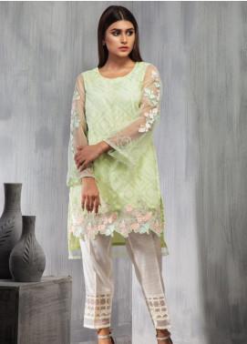 Dhanak Embroidered Net Stitched Kurtis DA-0670 Light Green