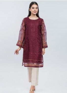Dhanak Embroidered Organza Stitched Kurtis DA-1083 Maroon