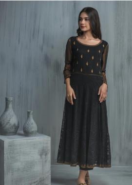 Dhanak Embroidered Chiffon Stitched Kurtis DA-1086 Black