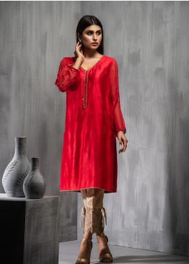 Dhanak Embroidered Chiffon Stitched Kurtis DA-1091 Red