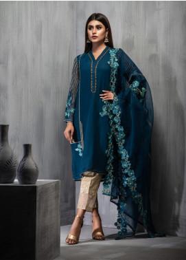 Dhanak Embroidered Chiffon Stitched 2 Piece Suit DA-1095 Blue