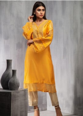 Dhanak Embroidered Cotton Net Stitched Kurtis DA-1098 Yellow