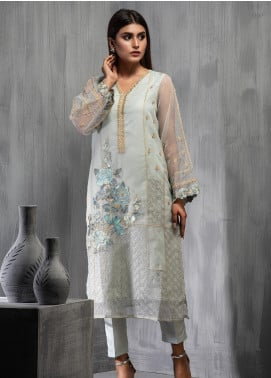 Dhanak Embroidered Organza Stitched Kurtis DA-1105 Grey