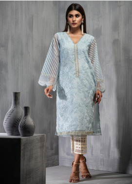 Dhanak Embroidered Cotton Net Stitched Kurtis DA-1106 Sky Blue