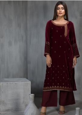 Dhanak Embroidered Velvet Stitched Kurtis DA-1111 Maroon