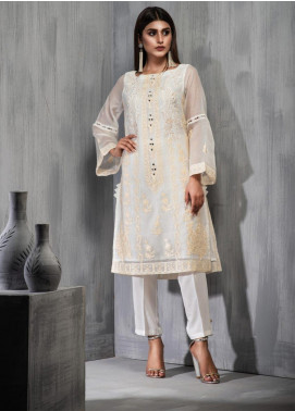 Dhanak Embroidered Khaadi Net Stitched Kurtis DA-1119 Off White