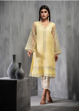 Dhanak Embroidered Organza Stitched Kurtis DA-1122 Yellow