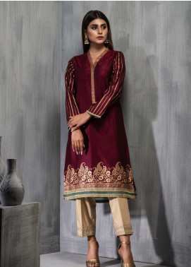 Dhanak Embroidered Cotton Net Stitched Kurtis DA-1123 Purple