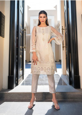 Dhanak Embroidered Organza Stitched Kurtis DA-1124 Grey