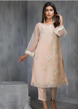 Dhanak Embroidered Organza Stitched Kurtis DA-1125 Peach