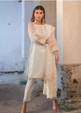 Dhanak Embroidered Organza Stitched 2 Piece Suit DA-1127 Sky Blue