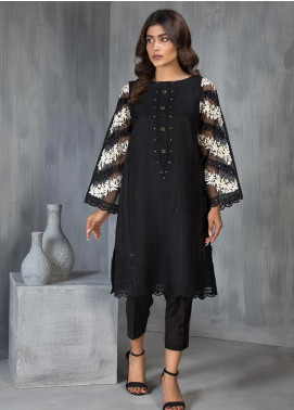 Dhanak Embroidered Organza Stitched Kurtis DA-1134 Black