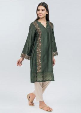 Dhanak Embroidered Cotton Net Stitched Kurtis Dark Green DA-1079